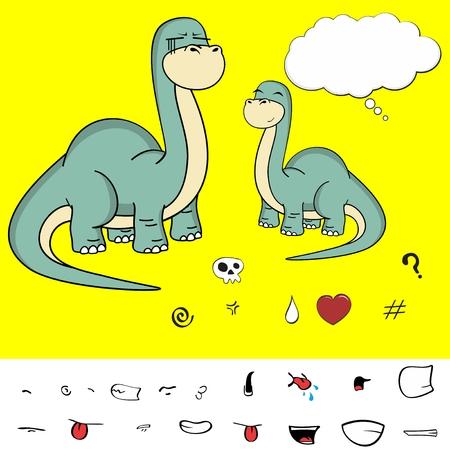 brontosaurus: brontosaurus dinosaur cartoon expressions Illustration