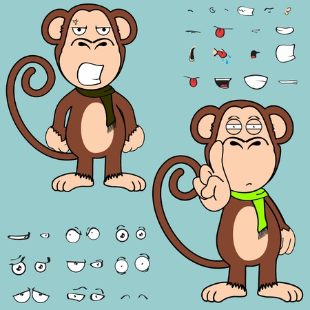 monkey cartoon in vector format in September expressions very easy to edit