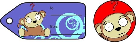 giftcard: funny cartoon monkey expression vector giftcard in format