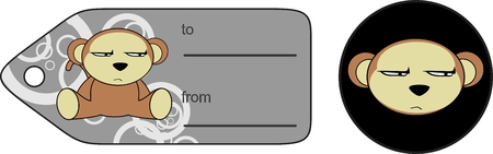 infantile: funny cartoon monkey expression vector giftcard in format