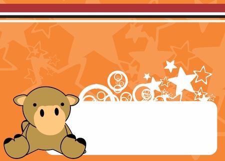 schattige kleine baby kameel cartoon sit achtergrond in vector-formaat