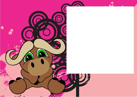 oxen: sweet baby sit oxen cartoon background in vector format frame Illustration