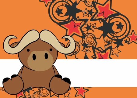 oxen: cute little baby cartoon sit background in vector oxen format