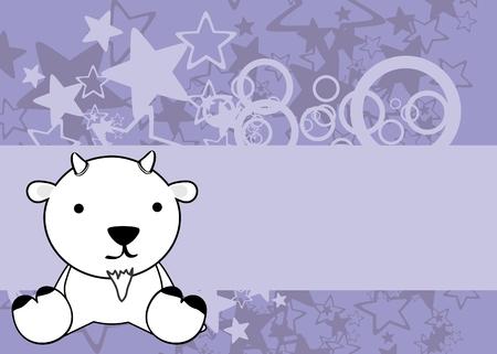 cute little baby goat cartoon sit background in vector format Illusztráció