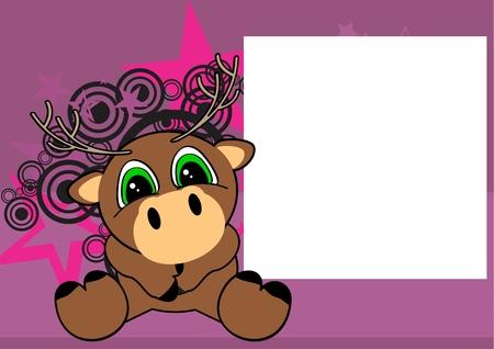 baby deer: sweet baby deer cartoon sit background in vector format frame