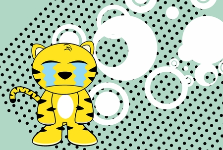 infantile: funny young tiger plush cartoon background in vector format very easy to edit Illustration