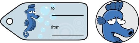 cartoon seahorse: seahorse cartoon sticker funny expression vector gift card in format