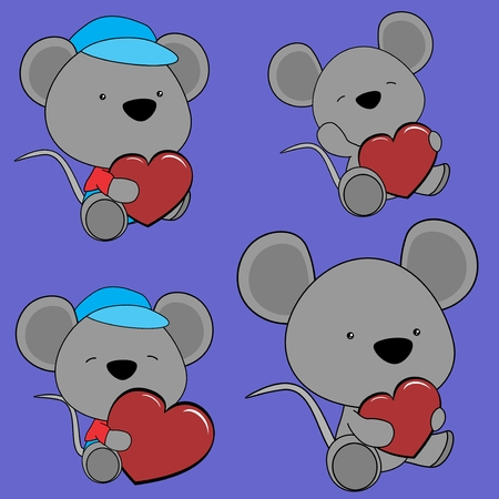 sweet baby lovely cartoon mouse in vector format in September