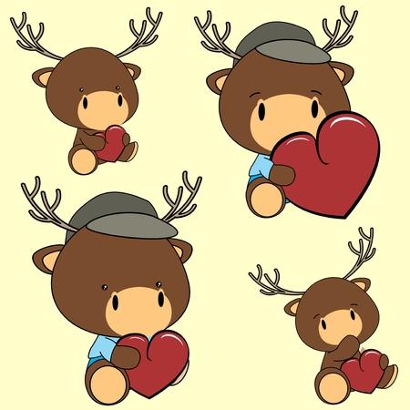 deer in heart: sweet lovely baby deer cartoon in vector format in September