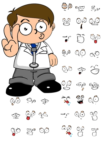 doctor vector: Doctor young kid cartoon in vector format expression in September Illustration