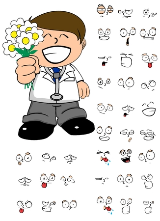 doctor isolated: Doctor young kid cartoon in vector format expression in September Illustration