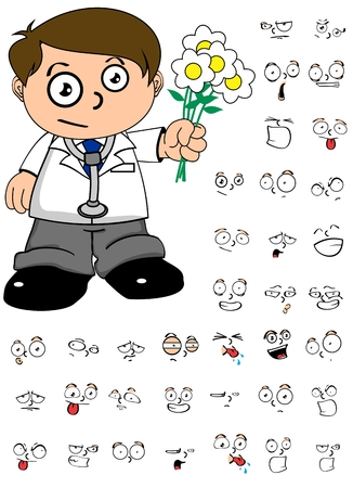 kid doctor: Doctor young kid cartoon in vector format expression in September Illustration