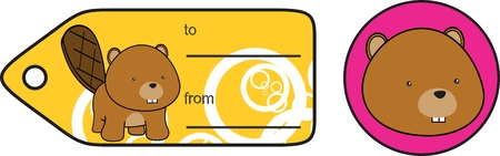 infantile: little cartoon baby beaver plush gift card in vector format very easy to edit