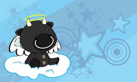 Angel sweet cherub bull cartoon background in vector format 일러스트