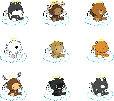 cherub: sweet cherub angel cartoon animals Set in vector format