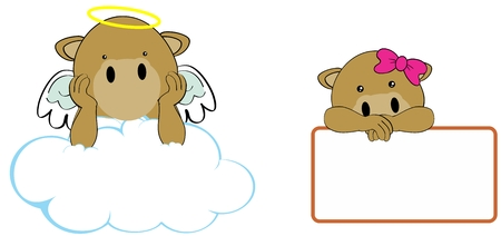 cherub: sweet cherub camel cartoon girl and boy angel in vector format in September