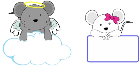 cherub: sweet cherub mouse cartoon girl and boy angel in vector format in September