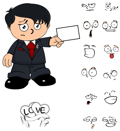 groom young kid cartoon in vector format expressions in September