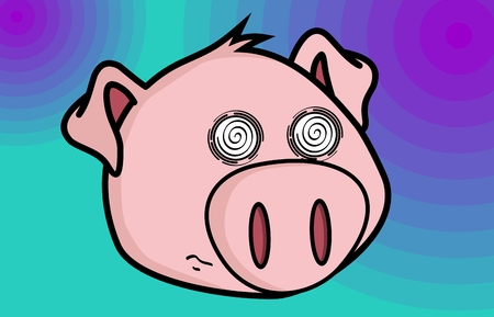 funny little pig cartoon in vector format expressions Illustration