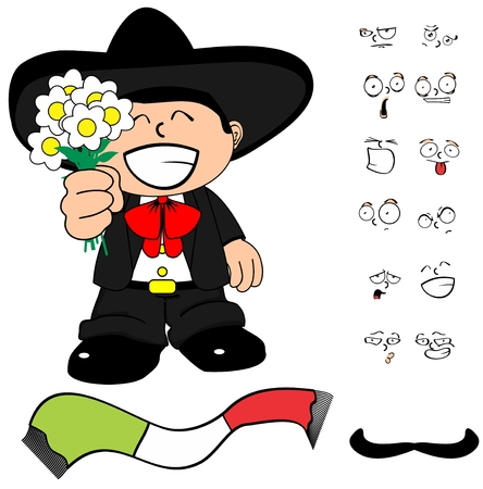 mariachi: funny kid cartoon mariachi mexican expressions in September very easy to edit
