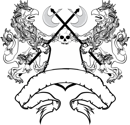 gryphon: heraldic gryphon coat of arms crest tattoo very easy to edit