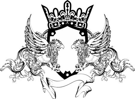 griffin manteau héraldique de crête de bras de tatouage très facile à modifier Vecteurs