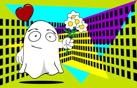 funny ghost cartoon background in vector format expressions