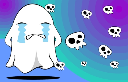 cute ghost: funny ghost cartoon background in vector format expressions