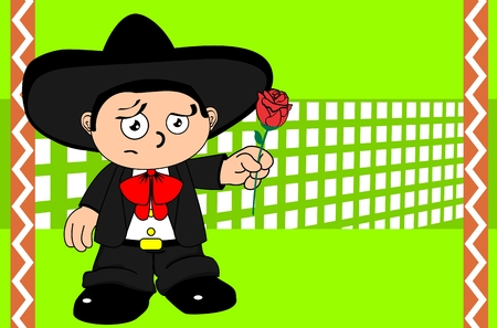 mariachi: funny kid cartoon mariachi mexican expressions very easy to edit background