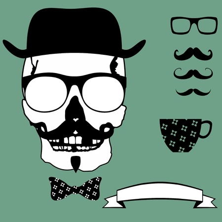 skull hipster style set in vector format very easy to edit