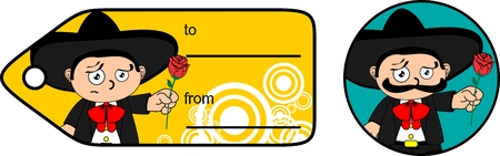 little kid mexican mariachi cartoon expressions gift card very easy to edit
