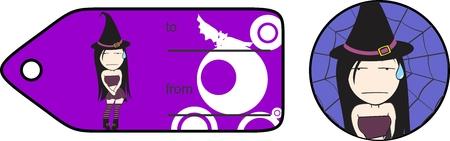 hallooween: little cartoon witch expressions hallooween gift card in vector format