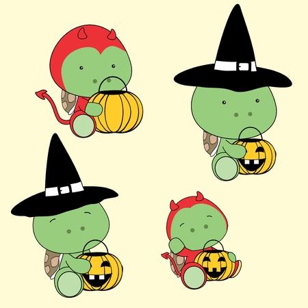 halloween cute baby turtle cartoon in vector format in September