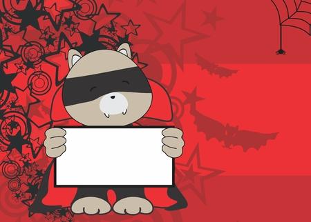 litle: sweet raccoon dracula costume halloween background in vector format