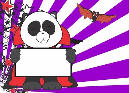 panda bear: sweet panda bear costume dracula halloween background in vector format