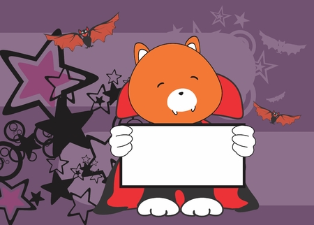 litle: sweet fox dracula costume halloween background in vector format Illustration