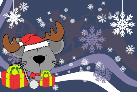 siting: cute baby mouse hat santa reindeer cartoon background in vector format Illustration