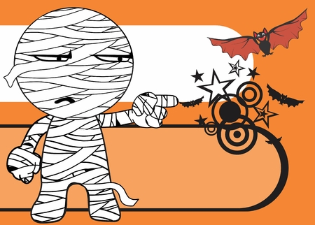 postal card: funny mummy kid cartoon halloween background expression Illustration