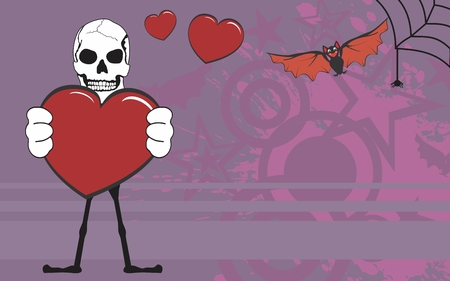 calavera caricatura: Fondo de Halloween de dibujos animados esqueleto