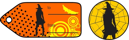halloween witch silhouette shadow giftcard Illustration