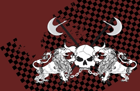 copysapce: heraldic gryphon lion eagle coat of arms and skull background