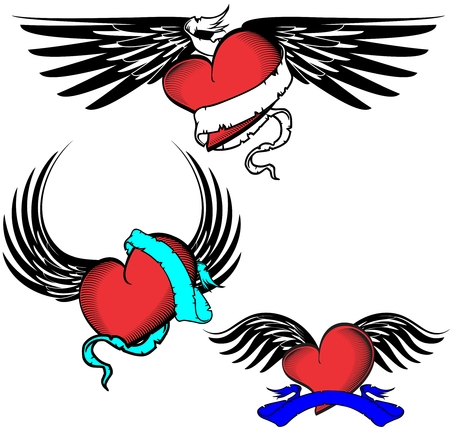 tribal tattoo winged heart pack in September Ilustrace