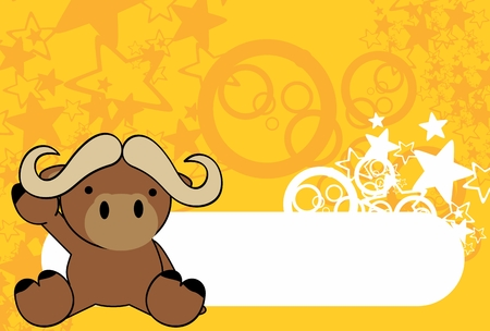 sweet baby ox cartoon background in vector format very easy to edit 일러스트