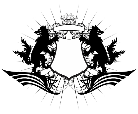 heraldic coat of arms crest wolf tattoo in vector format