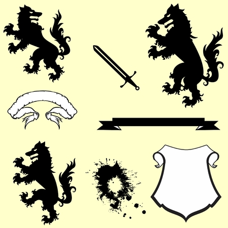 heraldic coat of arms crest wolf tattoo in vector format in September
