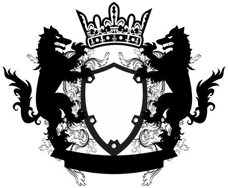 heraldic coat of arms crest wolf tattoo in vector format