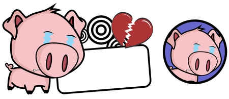 Little pig cute big head copyspace in vector format expression very easy to edit