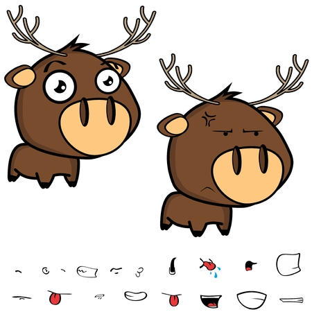 Cute little cartoon deer big head set in vector format expressions