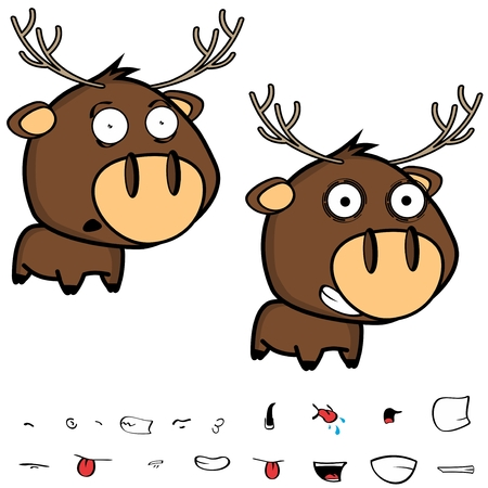 happy little cartoon deer big head set in vector format expressions