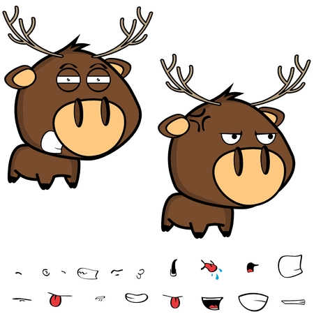 angry little cartoon deer big head set in vector format expressions